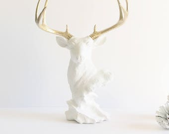White Gold Stag Statue Deer Bust animal statue for Table Top white deer head Gold Antlers jewelry hanger necklace bracelet hook nursery