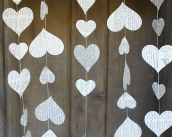 Paper Garland, Book Page Wedding Garland, Paper Wedding Decorations, Paper Hearts Garland, Book Page Garland, Dictionary Pages- 10 feet long