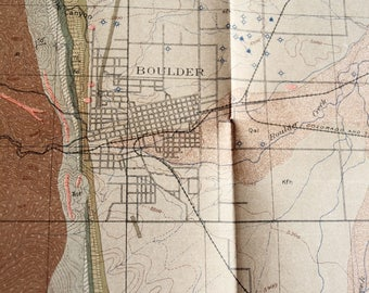 Antique Geologic map of Boulder Colorado geological formations wells faults 1905 original map by Fenneman RARE