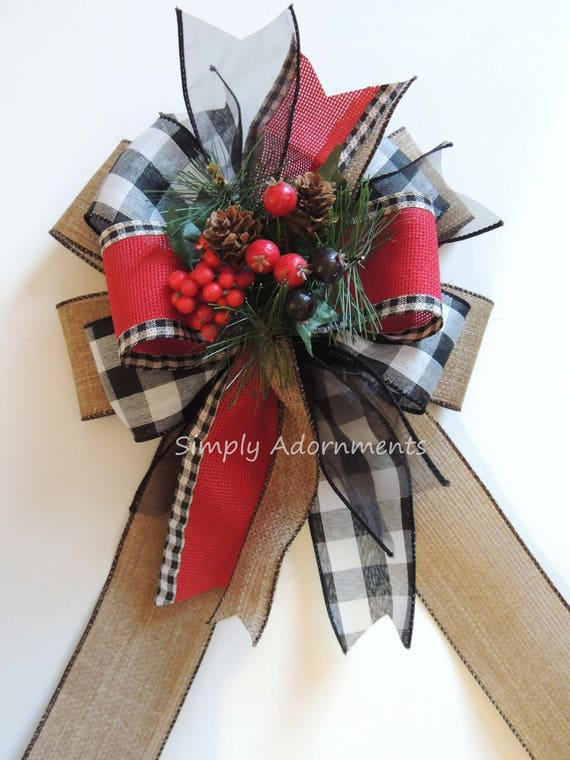 Cabin Plaid Winter Wreath Bow Red Black White Buffalo Plaid Christmas Bow Christmas Burlap Wreath Bow Pine Cones Berry Christmas Swag Bow