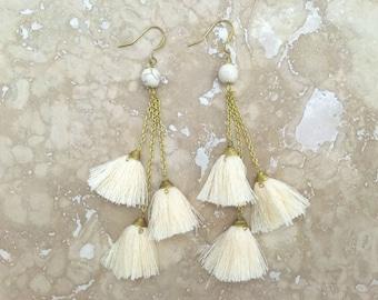 Catalina Tassel Cluster Earrings, Ivory Tassel Chandelier Earrings, Cream Tassel Cluster Earrings