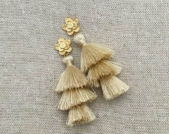 "Daisy Tassel Drop Earrings, Cream Layered Tassel Earrings,Brushed Gold Flower Connector,Statement,Bridal, Weddings,Birthday, 3"" Tassel Drop"