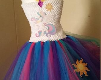 Princess Celestia or any My Little Pony Costume Flower Girl Tutu Dress
