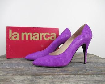 Fuchsia Snakeskin Stilettos, Vintage Pumps, Glam Rock, La Marca, Women's Shoes, Italian Leather Shoes, Vintage Shoes, Vintage Heels