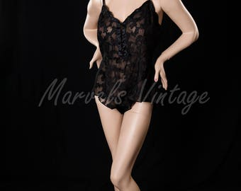 Victoria's Secret Lingerie Vintage Black Lace Teddy Bodysuit Size Large