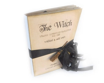 Halloween Journal, Witch Diary, Spell Book, Grimoire, Pagan, Wicca, Witches Log with a Broom, Samhain Decor, Memory Book, Fall Scrapbook