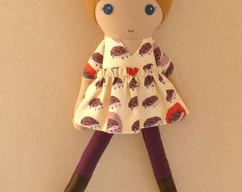 Fabric Doll Rag Doll 20 Inch Honey-Blond Haired Girl in Purple and Orange Hedgehog Print Dress with Boots
