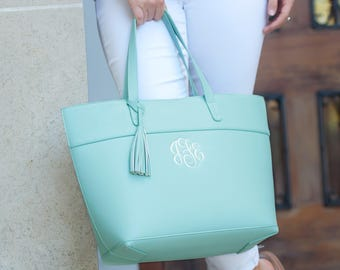 Personalized Tote Bag, Monogram Purse, Monogrammed Handbag, Bridesmaids Gifts, Wedding Party Gift, Shoulder Bag, Personalized Gift, Carryall