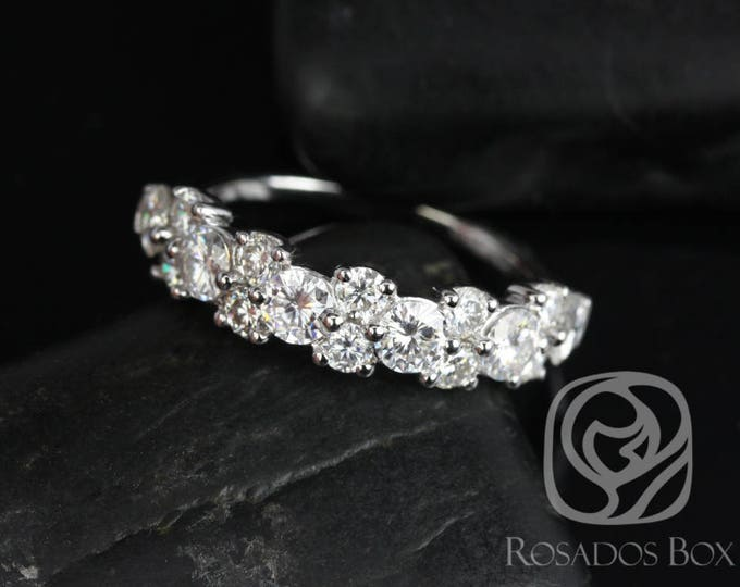 Featured listing image: Rosados Box DIAMOND FREE Hazel 14kt White Gold F1 Moissanite Floral Crown HALFWAY Eternity Band (Other Options Available)