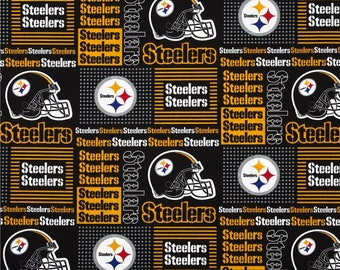Pittsburgh Steelers Football, NFL Fabric, Steelers Patch Fabric, 100% Cotton Broadcloth Fabric