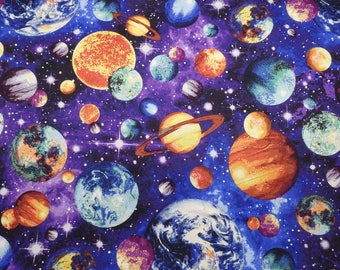Universe Fabric, Outer Space Fabric, Planets Fabric, Quilting Cotton, By the Half Yard