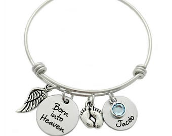 Personalized Born into Heaven Bracelet - Engraved Jewelry - Expandable Wire Bangle - Miscarriage Remembrance - Infant Loss Bracelet - 1121