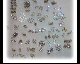 Over 250, Crystal Clear, Rhinestone, Brass, Setting, Swarovski Crystal, Clear, Connector, Oval, Rectangle, Square, Rare,