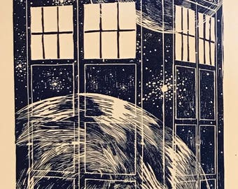 "TARDIS - 11"" x 14"" Woodblock Block Print - Limited Edition - Doctor Who"