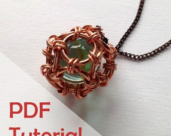 Dodecahedron Cage Pendant Tutorial, Chainmaille Jewelry Tutorial, Instant PDF Download