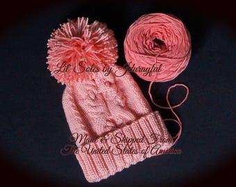 Knit Baby Hat, Baby Girl Hat, Baby Shower Gift,Peach Baby Hat, Baby Knit Cable Hat,Crochet Baby Hat, Baby Pom Pom Hat, 0-3 Months, Baby Cap