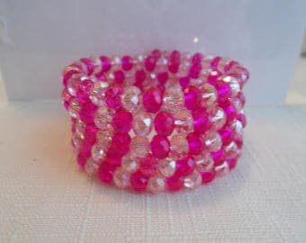 5 Row Memory Wire Cuff Bracelet with Pink and Clear Crystal Beads  Beads