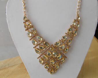 Gold Tone Bib Necklace with Gold Crystal and Gold  Rhinestone Beads