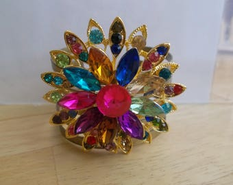 Gold Tone Wide Cuff Bracelet with Multi Color Crystal Beads