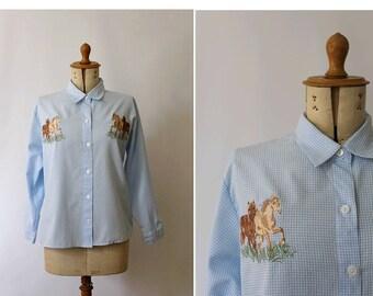 Horses vintage blouse / vintage embroidered blouse