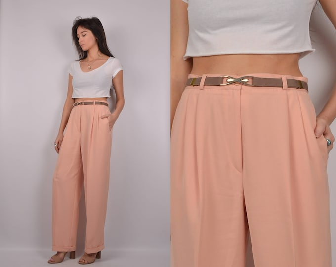 "Vintage Peach Trousers / high waist 29""W"
