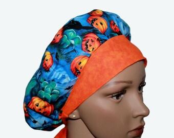 Bouffant Surgical Scrub Hat - Halloween Theme Scrub Hat - Orange Pumpkins on Blue Bouffant Scrub Hat - Ponytail Scrub hat - Custom Scrub Hat