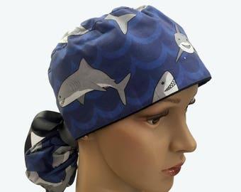Ponytail Scrub Hat with ribbon ties - Smiling Sharks Ponytail Scrub Hat - Animal Ponytail - Shar Ponytail Scrub Hat - Surgical Scrub Hat