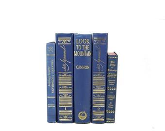 Sapphire Blue Decorative Books, Shabby Chic Book Decor, Antique Book Set, Wedding Centerpiece, Farmhouse Old Book collection