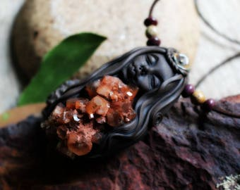 Medicine Woman Necklace - Aragonite Star Cluster, Handcrafted Clay.