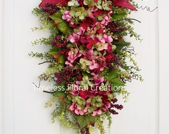 "Hydrangea Wreath Swag, ""Burgundy Blaze"", Floral Swag~Winter, Spring, Summer, Fall~ Burgundy Front Door Decoration~Timeless Floral"