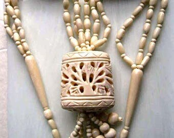 Carved Bone Tribal Necklace, Large Pierced Pomander Cage, Tree Leaves Design, Barrel Cylinders, Bone Beads, Massive Ethnic Boho Pendant