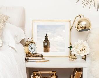 London print, Big Ben wall decor, London wall decor, Big Ben print, large wall print, Britain, gift for her