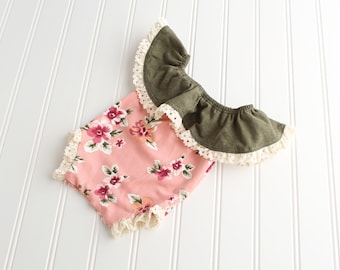 Olive and Lace - newborn off the shoulder ruffle romper in olive green, blush pink, burgundy wine, fuchsia, camel, cream and sage (RTS)