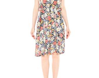 1930s Floral Satin Dress Size: 6