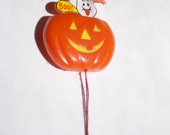 Vintage Pumpkin Halloween Brooch - Pop Up Ghost - 1980s