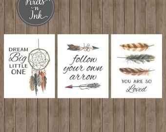 PRINTABLE Digital Nursery Wall Art 8x10 Printable Trio - Arrow, Feather, Dreamcatcher, Boho, Watercolor, Floral, Baby Boy