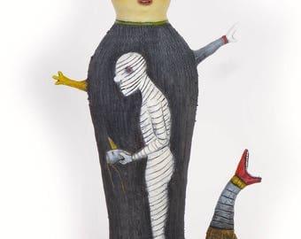 """Title: """"Revealing My True Self""""  3-D ceramic sculpture, 22"""" x 12"""" x 6"""""""
