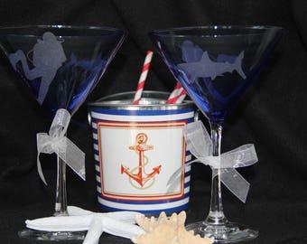 Scuba diver and shark martini glass