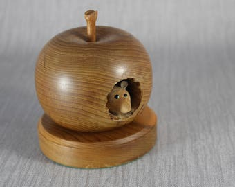 Hand Turned Wooden Apple Ornament with A Small Mouse Inside Brown Wood no2