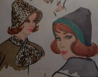 Vintage 1960's McCall's 2416 Hats and Scarf Sewing Pattern, Size 22