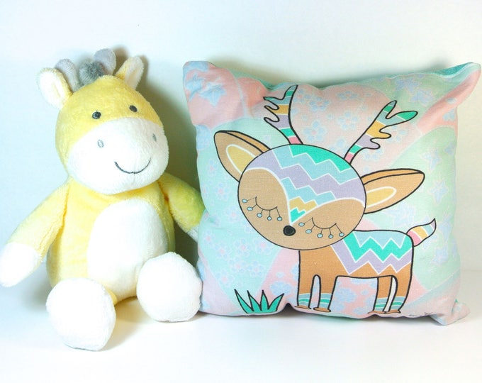 Art Pillow: Deer Nursery Pillow Handmade Textile Home Decor Baby Room Pillow Baby Doll Unique Gift Woodland