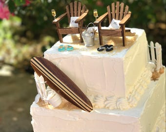 WALNUT SURFBOARD Custom Beach Theme Wedding Cake Topper Classic Adirondack Chairs, Mr. and Mrs. PILLOWS - by Landscapes In Miniature