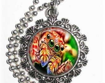Orange Spider Close-up Art Pendant, Photo Painting Filigree Charm, Silver and Resin Necklace, YessiJewels Jewelry