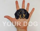 Dog Custom Portrait Patch. Textile Art. Dachshund Gift.