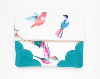 Bird clutch bag. Fold over clutch. Leather handbag. Statement purse. Tropical print fabric.Turquoise blue leather handbag /TROPICANA 4