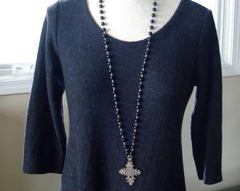 "Long Matte Black Onyx Necklace with Coptic Cross Pendant - 37"" // asian // edgy // yoga // minimalist"