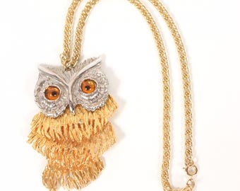 VINTAGE 70s Owl Gold + Silver Moveable Pendant w Amber Eyes | Large Statement Necklace | Estate Jewelry Necklace | Runway Piece