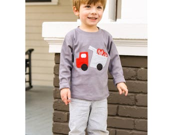 Little Boys Valentines Outfit - Dump Truck with Hearts t-Shirt - Toddler Boy Valentines Clothes - Boy Valentines Shirt Set - Applique Outfit