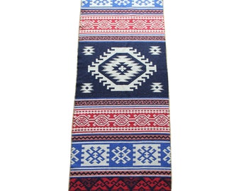 Long Kilim Runner - New Reversible Long Turkish Kilim Runner Rug in Blue, Red and White - 250cm