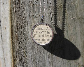 Fritz and Jo - Little Women Book Page Pendant Necklace - Louisa May Alcott